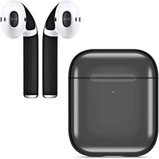 APSKins Mirror Gloss AirPods Case Cover and Adhesive Skin Wraps – Compatible with AirPods 2 – Wireless Charging Light Visible. (Glossy Black)