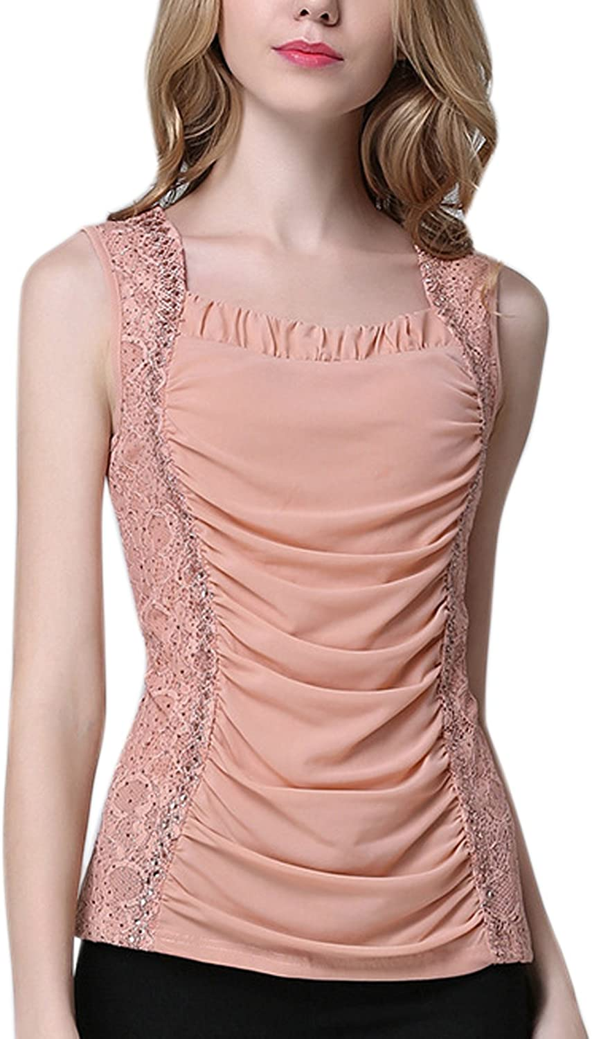 Misscat Women Ruffle Ruched Tank Top Floral Lace Patchwork Racerback Camisole Pink