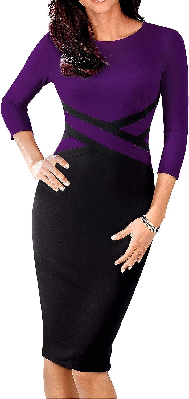 HOMEYEE Women's 3 4 Sleeve colorblock Sheath Pencil Church Dress B463