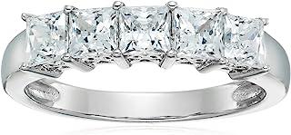 Anello in argento Sterling placcato platino o oro con 5 pietre taglio princess realizzato con zirconi Swarovski