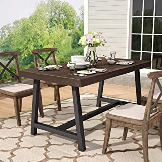 Tribesigns Outdoor Dining Table, Industrial Rustic Solid Wood Patio Dining Table with Heavy-Duty Metal Base Perfect for Patio, Chairs Not Included