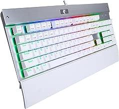 E-Yooso Z77 War Falcon Mechanical Gaming Keyboard - Programmable RGB Backlit 104 Keys Keyboard with Wrist Rest - Blue Switches (White)