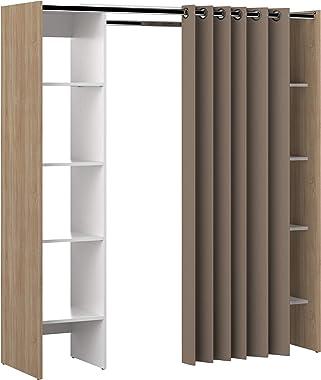 TemaHome Dressing 2 Colonnes Bois Chêne/Natural/Blanc/Taupe 185,3 x 182 x 50 cm 4021X0391R00