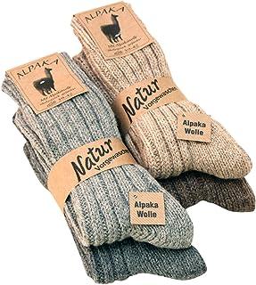 2 pares de calcetines, gruesa y suave, con alpaca, colores naturales