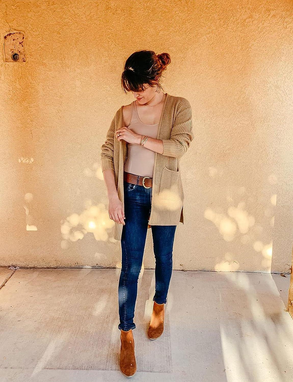 MEROKEETY Womens Long Sleeve Waffle Knit Cardigan Open Front Side Slit Sweater