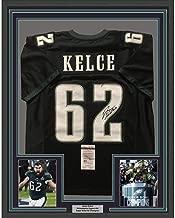 Framed Autographed/Signed Jason Kelce 33x42 Philadelphia Eagles Black Football Jersey JSA COA