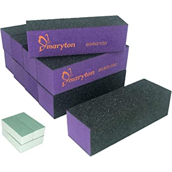 Nail Buffer Sanding Block Polisher Buffing File 60/100 Grit for Acrylic Nail Art Kit Manicure Tools 10 PCS (Black Purple)