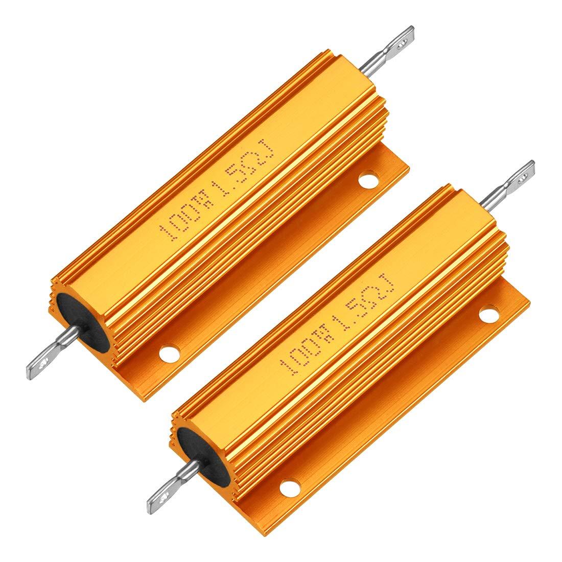 uxcell 2Pcs Aluminum Case Max 43% OFF Resistor 100W Ohm 1.5 Wirewound Tulsa Mall Yellow