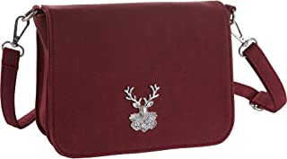 dressforfun 900653 Damen Trachten Handtasche Heimatliebe, Schicke Trachtenhandtasche in Wildlederoptik (Rot   Nr. 303282)