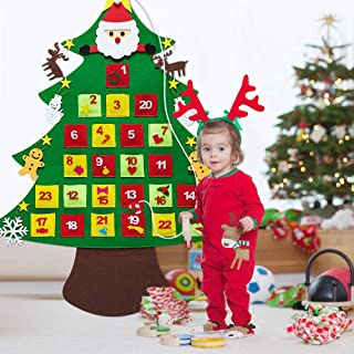Supker Christmas Advent Calendar, Felt Christmas Tree with Pockets 24 Days for Kids Xmas Holidays Indoor Home Wooden Wall & Door Decoration
