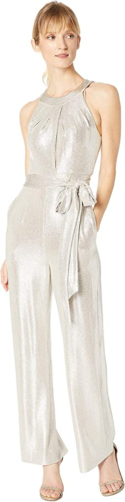 Sleeveless Foil Knit Jumpsuit