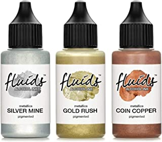 Octopus 3X 30 ml Fluids Alcohol Ink Set Metallics Silver Mine, Gold Rush, Coin Copper Tusz alkoholowy do fluid artu, żywic...