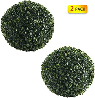 GTIDEA Artificial Topiary Ball, 2 Pack 11 inches Faux Boxwood Ball Perfect Fill Front Porch for Home, Schools, Factories, Private Clubs Green Landscaping Decor