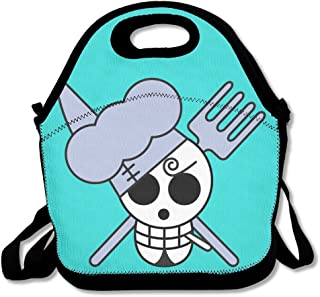 Cool Skull Crossbones Mint Green Lunch Bags Insulated Travel Picnic Lunch Box Tote Handbag With Shoulder Strap For Women Teens Girls Kids Adults