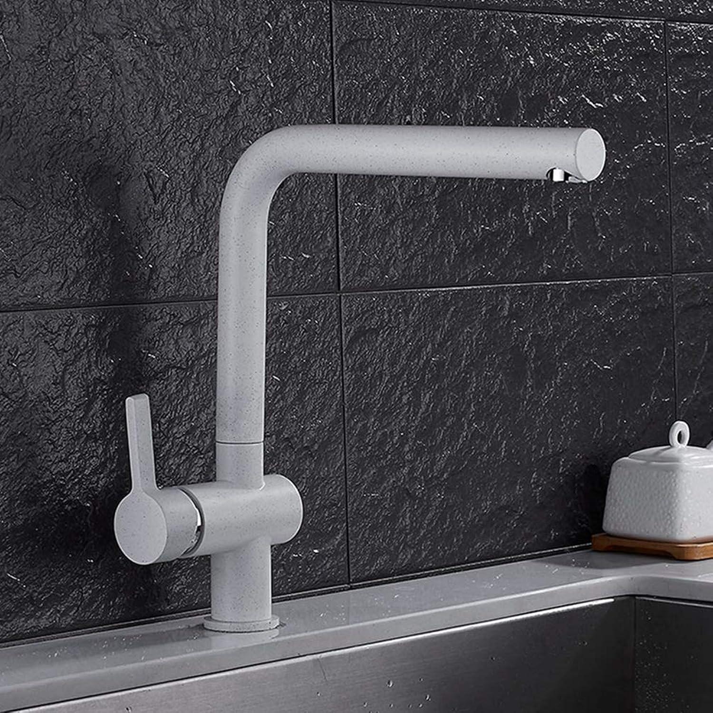 FZHLR Farbspritz Wei Mit Punkt Kitchen Sink Tap Rechtwinklig Design-Einhand-Deck Montiert Küchenarmatur