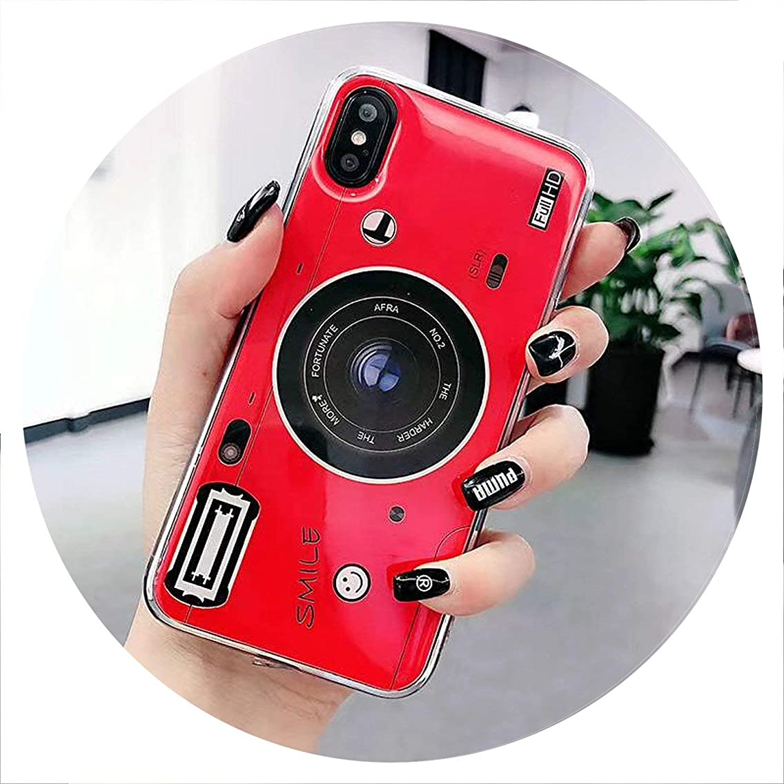 Old Styles Case for iPhone 8 5S 5C Vintage 3D Camera Soft Silicone TPU Cover for iPhone 6 6s 7 8 Plus XS Max XR 3D Phone Holder,Red,for iPhone 6 Plus,1 Case NO Holder