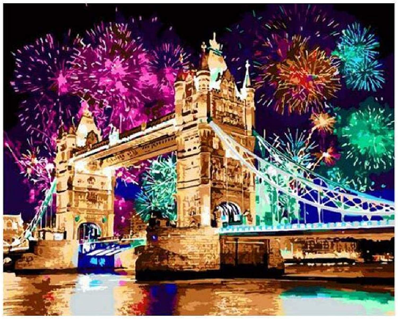 solo para ti LQEpainting Bricolaje por por por Kit de Pintura al óleo Digital Lienzo de Parojo para el hogar Sala de EEstrella Decoración de Oficina Decoraciones Regalos (sin Marco) -Night Sky Fireworks, 100X180cm  barato en alta calidad