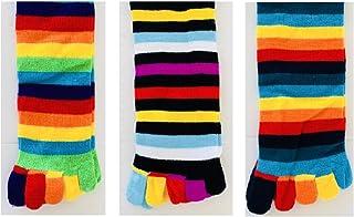 6 Pairs Men WOMEN GIRL Cotton KNEE HIGH TOE SOCKS Rainbow Stripe Party Costume Ball