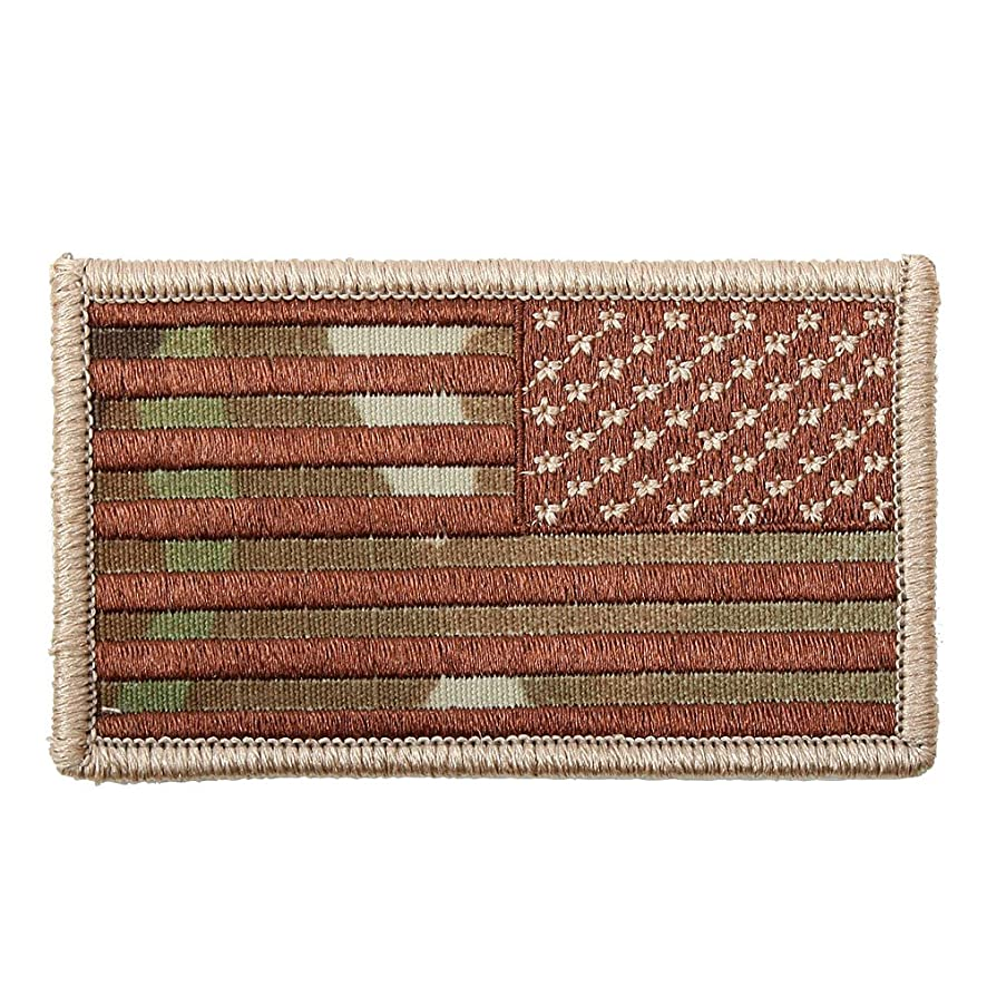 American Reverse Flag Patch With Hook And Loop Back Multicam