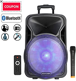 STARQUEEN 12Inch Portable Pa System Bluetooth Rechargeable Speaker with Wireless Microphone Remote Control and LED Party Lights, AUX/USB/TF Input, FM Radio, Handle&Wheels & Hole for Speaker Stand