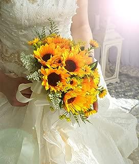 U'Artlines Artificial Bridal Wedding Bouquet Romantic Handmade Holding Flower for Wedding Party Home Decoration (Sunflower Bouquet)