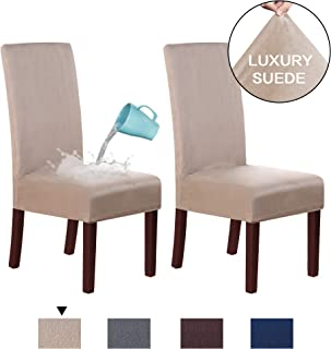 H.VERSAILTEX Stretch Suede Dining Room Chair Slipcovers Super Stretch Spill Resistant Removable Washable Anti-Dust High Back Chair Seat Protector Slipcovers Dining Chair Cover, Set of 2, Sand