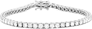 Femme Luxe 14K White Gold and 5.00 Carats Diamond Tennis Bracelet for Women (G-H Color, I2 Clarity), with Gift Box, Giftab...
