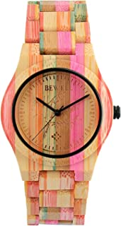 Bewell 105DG Colorful Bamboo Wristwatch for Men, Lightweight Quartz Analog Casual Wooden Watches Type 2