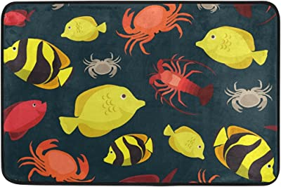 MASSIKOA Marine Life Fishes Crab Cray Non Slip Backing Entrance Mat Floor Mat Rug Indoor Outdoor Front Door Bathroom Mats 23.6 x 15.7 inch