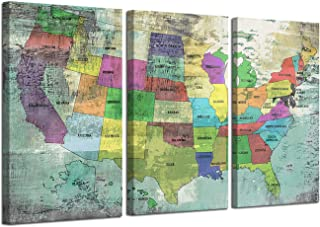 Ardemy Canvas Wall Art Prints US Map with States Vintage Abstract Large Size Pictures, Retro United States Blue Map Painting Artwork Gallery and Framed Posters for Home Office Decor, 16