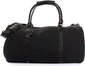 LECONI Reisetasche für Damen & Herren Ledertasche Weekender groß Sporttasche Männer  Frauen Handgepäck Sporttasche echtes Rinds-Leder und Canvas Segeltuch Natur Retro 53x28x28cm LE2004-C