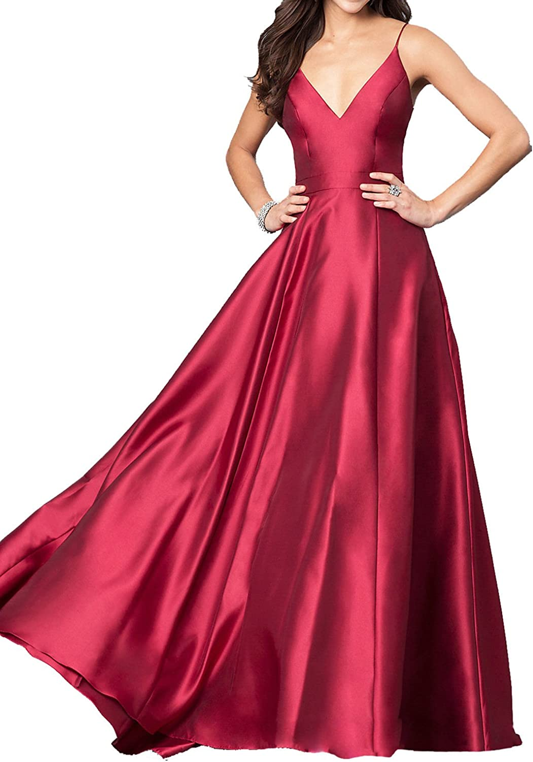 LL Bridal Women's V Neck A Line Spaghetti Strap Evening Gown 2018 Long Prom Formal Dresses LL17