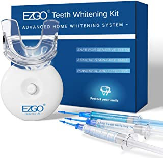 EZGO Teeth Whitening Kit with LED Light, Carbamide Peroxide Teeth Whitening Gel Pen&Remineralization Gel for Sensitive Teeth, Professional Teeth Whitener for Home Using, Teeth Bleaching Kit with Tray