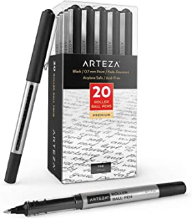 Arteza Rollerball Pens, Pack of 20, 0.7mm Black Liquid Ink Pens for Bullet Journaling, Fine Point Rollerball for Writing, Taking Notes & Sketching