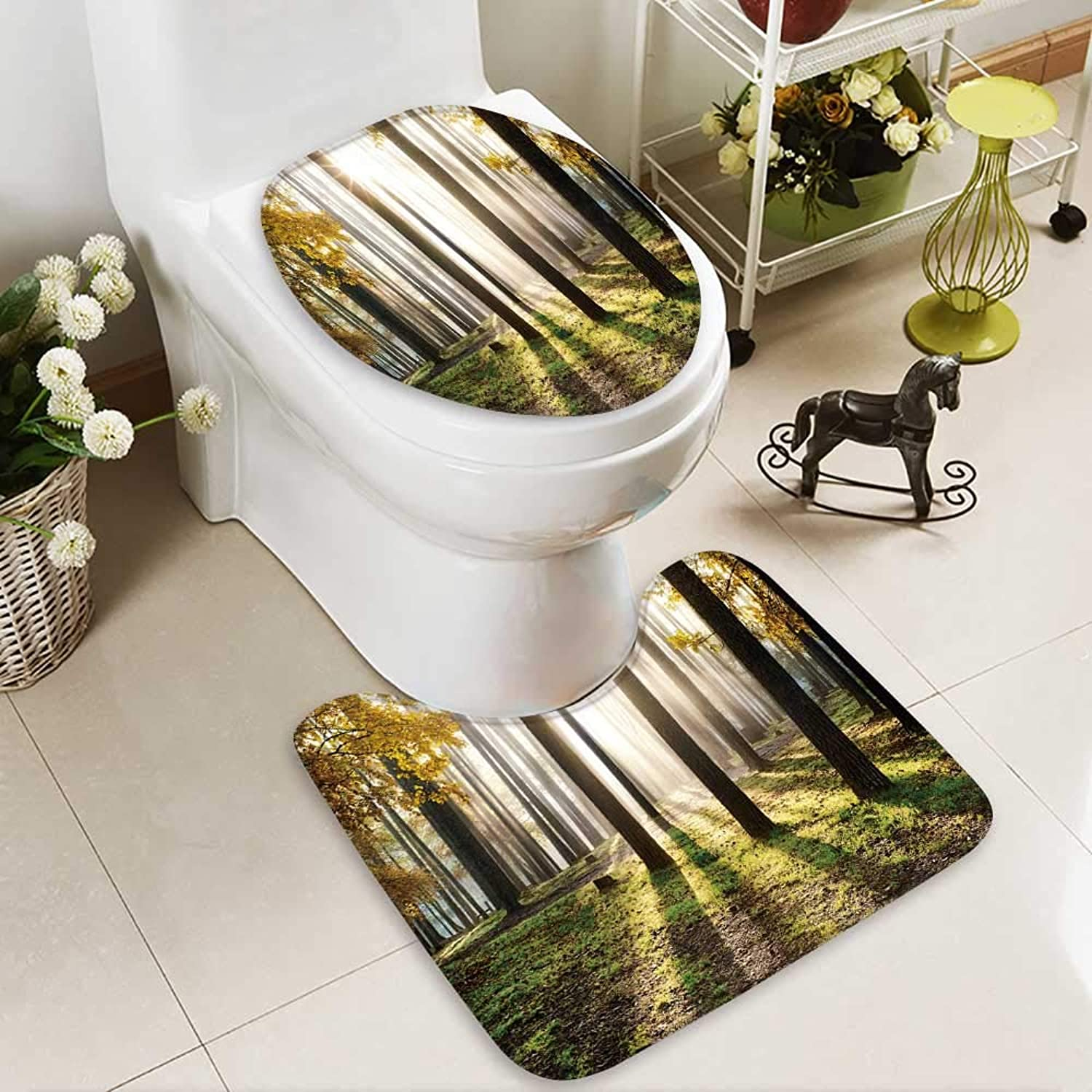 Aolankaili Bathroom Non-Slip Floor Mat Beautiful Landscape,Sunrise in The Forest with High Absorbency