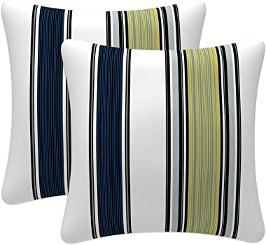 Fabritones Outdoor Pillows with Insert Set of 2 18x18 Inch Square Yellow and Navy Stripe Pattern Decorative Patio Accent Pill