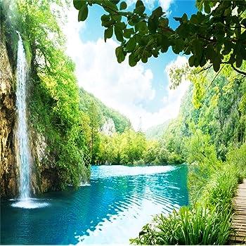 Amazon Com Lfeey 10x10ft Waterfall Nature Scenery Backdrop For Photographers Beautiful Mountain Lake Falls Natural Photography Background Photo Studio Props Video Drapes Wallpaper Camera Photo