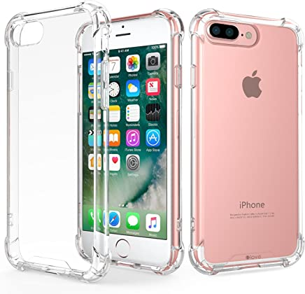 ELOVE Crystral Clear/Ultra-Slim/Hard PC + Soft TPU Transparent Back Cover for Apple iPhone 7 Plus/iPhone 8 Plus - Clear