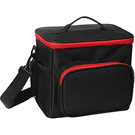 Esonmus Insulated Lunch Bag,Cooler Bags for Women Leakproof Fresh Keep Cool Lunch Bag for Lunch Food,School,Office,Picnic with Detachable Shoulder Strap 10L (Black Red)