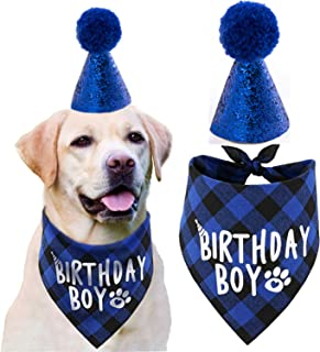 JPB Dog Birthday Party Supplies,Pet Birthday Hat and Boy Doggy Birthday Bandana Set