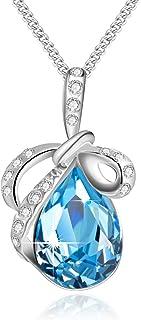 Swarovski collana di cristallo a goccia collana farfalla zaffiro collana per le donne regalo di pietra dei nati gioielli r...