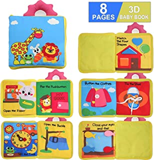 POKONBOY Quiet Books for Toddlers - Soft Baby Books Touch and Feel Cloth Book, 3D Books Fabric Activity for Babies /Toddle...