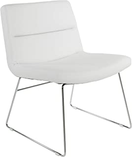 Office Star Bonded Leather Thompson Chair with Chrome Sled Base, White