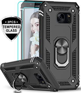 LeYi Samsung Galaxy S7 Case with Tempered Glass Screen Protector [2 Pack], [Military Grade] Defender Protective Phone Cover Case with Magnetic Car Mount Holder Kickstand for Samsung S7, JSFS Black