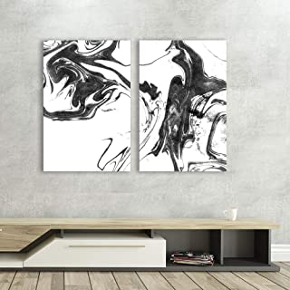 wall26 - 2 Panel Canvas Wall Art - Abstract Ink Splash on White Background - Giclee Print Gallery Wrap Modern Home Decor Ready to Hang - 16