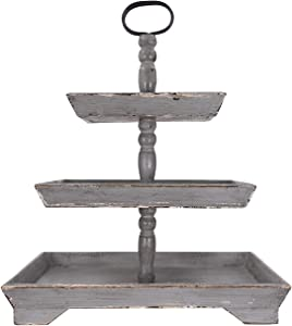 Creative Co-op Grey Decorative 3 Tier Tray