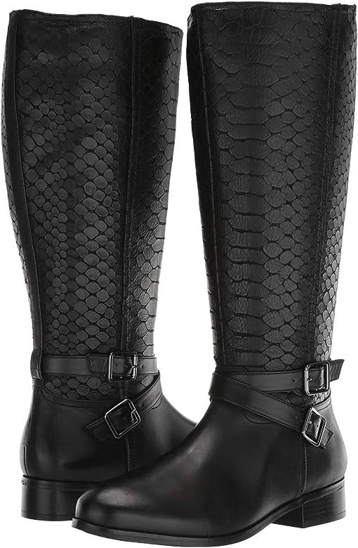 Black Burnished Leather/Embossed Anaconda