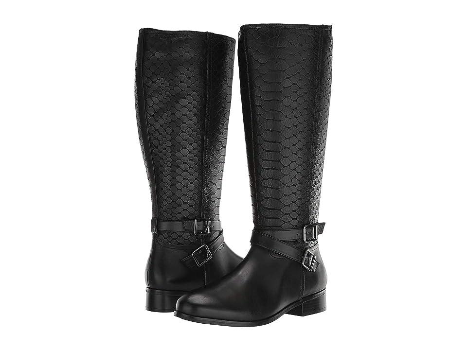 Trotters Liberty (Black Burnished Leather/Embossed Anaconda) Women