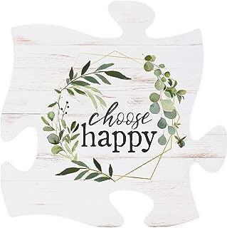 P. Graham Dunn Choose Happy Leaf Wreath White 12 x 12 Wood Decorative Puzzle Piece Plaque