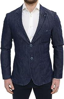 e55d27b49ddca5 Giacca Uomo Elegante Primaverile Sartoriale Slim Fit Effetto Jeans Blu  Denim con Pochette e Colletto a